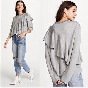 •Diane von Furstenberg •Ruffle Front Pullover Grey